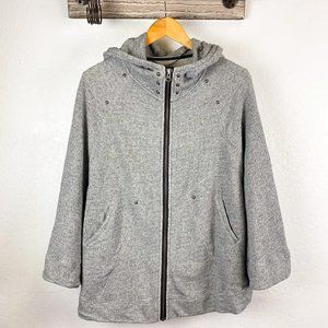 Gentle Fawn Sweater Poncho Zippered Gray